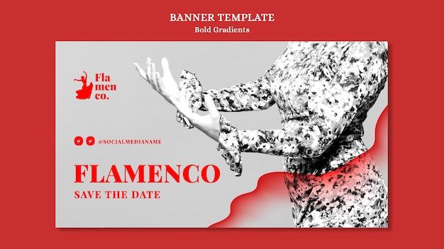 Horizontal banner for flamenco show with female dancer
