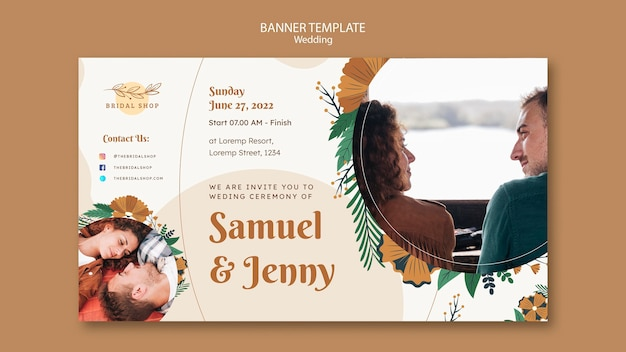 Horizontal banner for floral wedding with leaves and couple