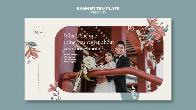 Horizontal banner for floral wedding
