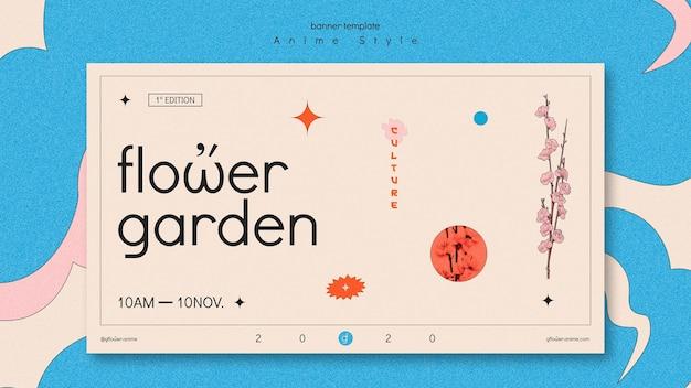 Banner orizzontale per giardino fiorito