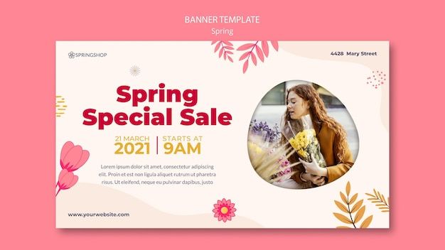 Horizontal banner for flower shop with spring flowers