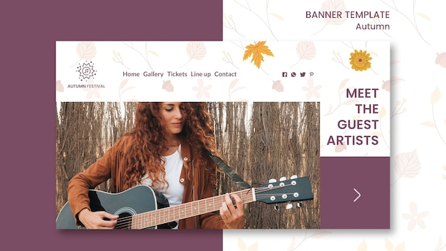 Горизонтальный баннер для осеннего концерта