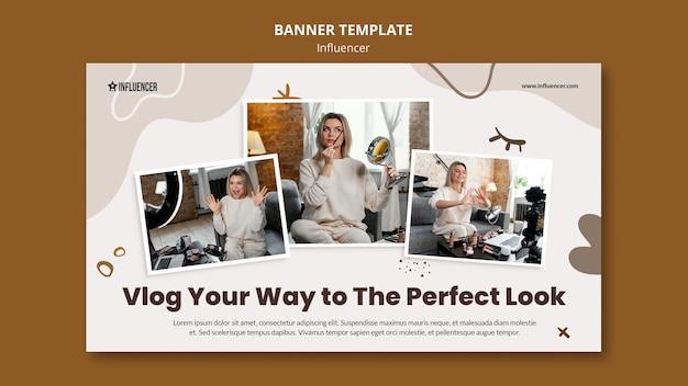 Горизонтальный баннер для красоты vlogger с молодой женщиной