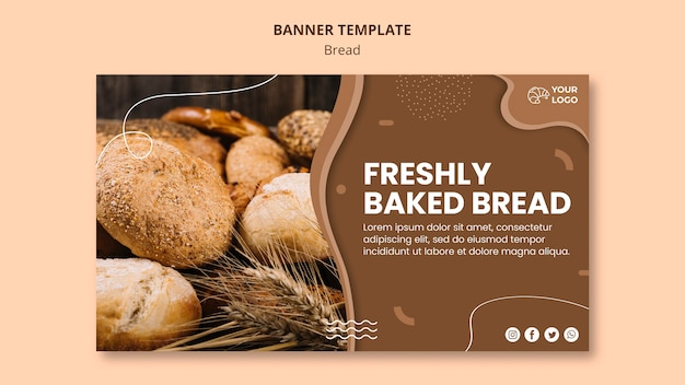 Горизонтальный баннер для бизнеса по приготовлению хлеба