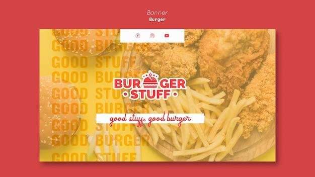 Горизонтальный баннер для закусочной с гамбургерами