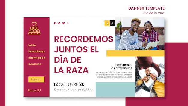 Горизонтальный баннер для празднования дня колумба