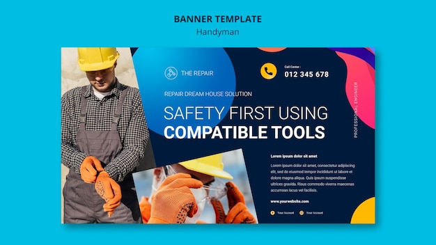 Горизонтальный баннер для компании, предлагающей услуги разнорабочего