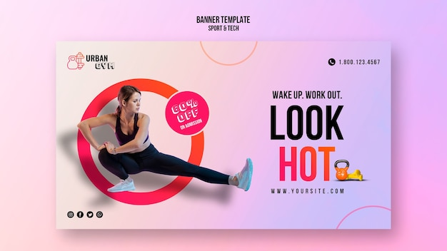 Горизонтальный баннер для фитнеса и упражнений