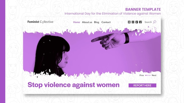 Горизонтальный баннер для международного дня борьбы за ликвидацию насилия в отношении женщин