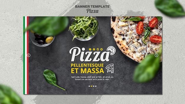 イタリアのピザレストランの横長バナー
