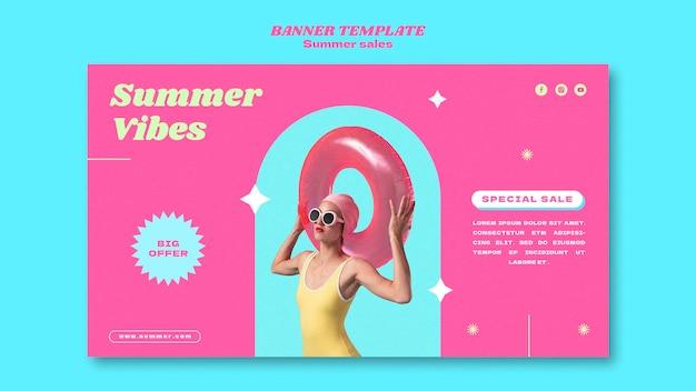 夏のセールのための水平バナー