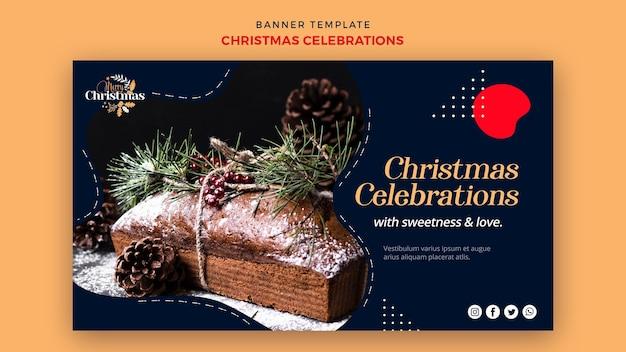 伝統的なクリスマスデザートの水平バナー