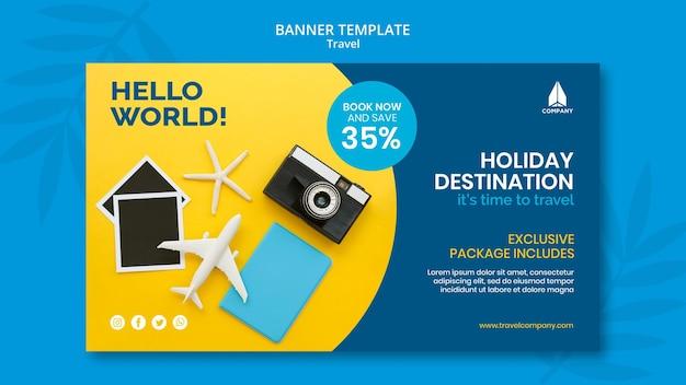Горизонтальный баннер для путешествий в отпуск