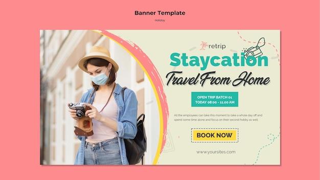 Горизонтальный баннер для туристической поездки в виртуальной реальности