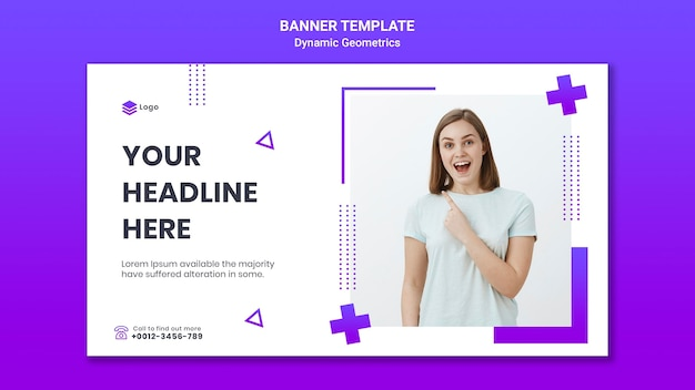 Horizontal banner for free theme with dynamic geometrics