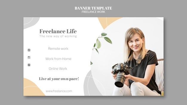 Horizontal banner for freelance work with female photographer
