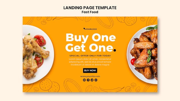 Horizontal banner for fried chicken dish