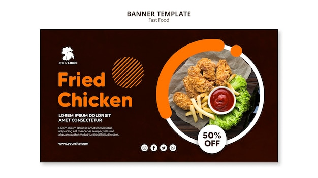 Horizontal banner for fried chicken restaurant