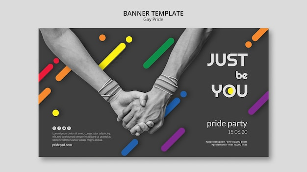 Horizontal banner for gay pride