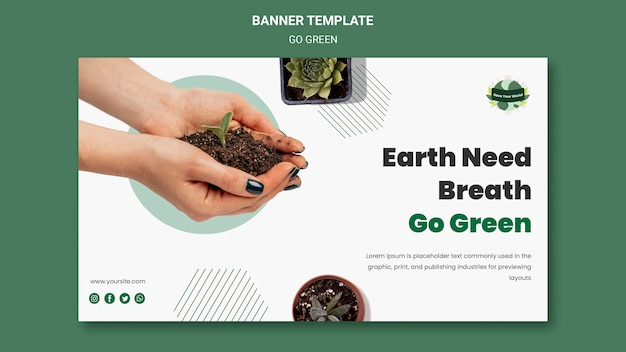 Horizontal banner for going green and eco-friendly