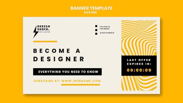 Horizontal banner for graphic design courses Premium Psd