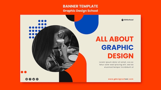 Horizontal banner for graphic design school