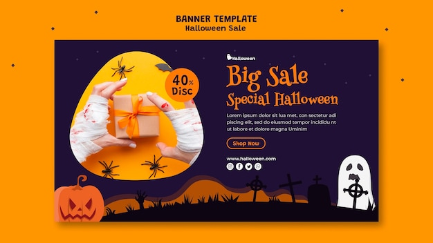 Horizontal banner for halloween sale