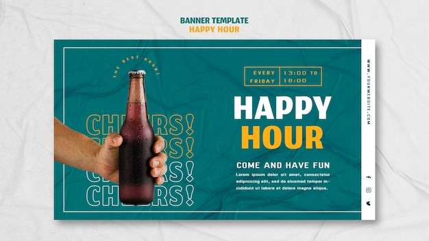 Horizontal banner for happy hour