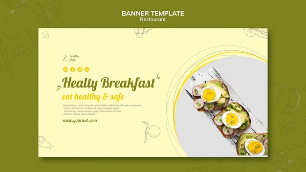 Horizontal banner for healthy breakfast with sandwiches