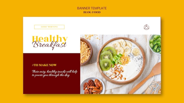 Horizontal banner for healthy food recipes blog