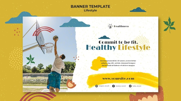 Horizontal banner for healthy lifestyle