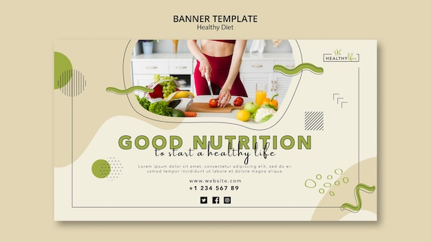 Horizontal banner for healthy nutrition