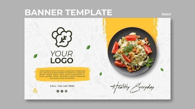 Banner orizzontale per un sano pranzo con insalata