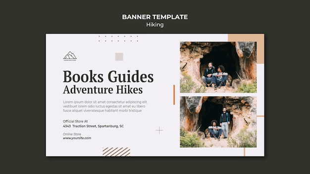 Horizontal banner for hiking in nature