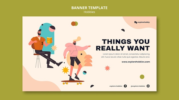 Horizontal banner for hobbies and passions