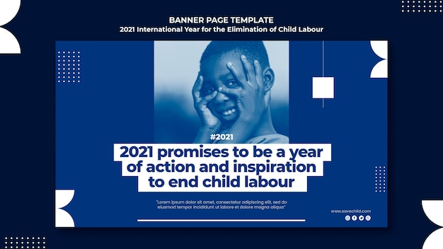 Banner orizzontale per l'anno internazionale per l'eliminazione del lavoro minorile