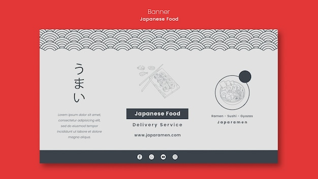 Horizontal banner for japanese food restaurant