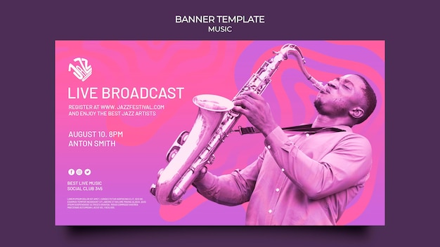 Horizontal banner for jazz festival and club