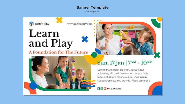 Horizontal banner for kindergarten with children