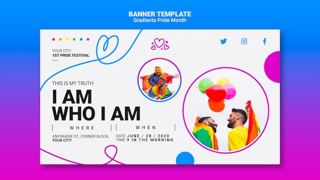 Horizontal banner for lgbt pride