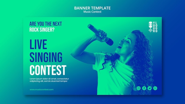 Horizontal banner for live music contest with performer Free Psd