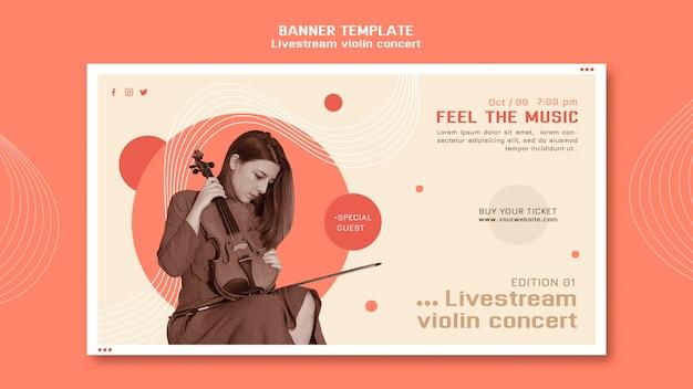Horizontal banner livestream violin concert