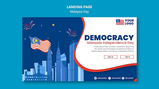 Horizontal banner for malaysia day anniversary celebration