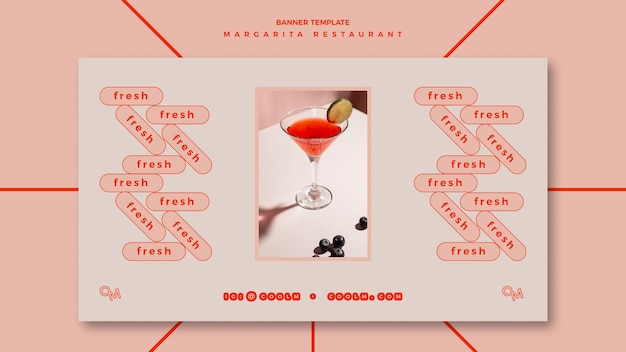 Horizontal banner for margarita cocktail drink