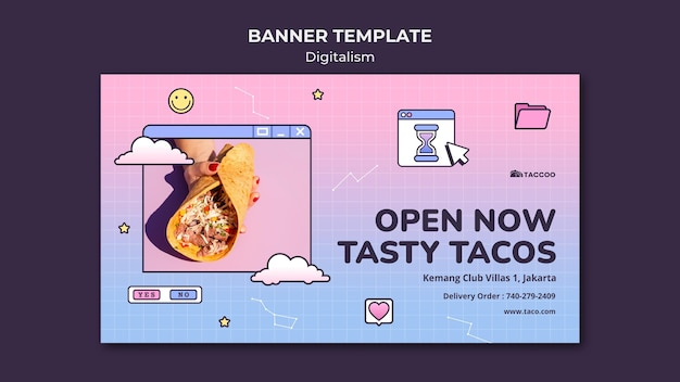 Horizontal banner for mexican food restaurant