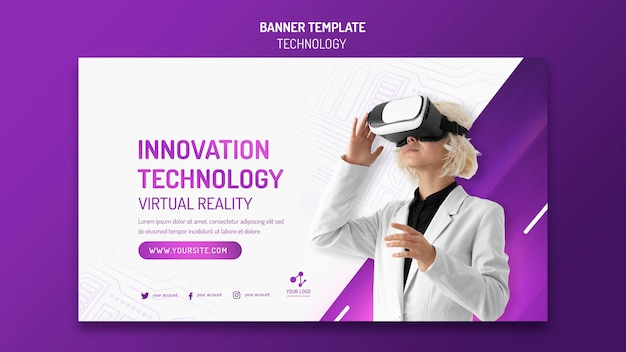 Horizontal banner for modern technology with virtual reality headset