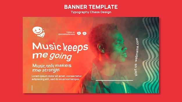 Banner orizzontale per la musica con l'uomo e la nebbia