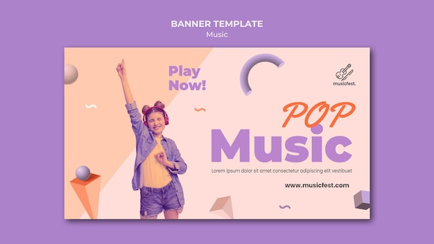 Horizontal banner for music with woman using headphones and dancing
