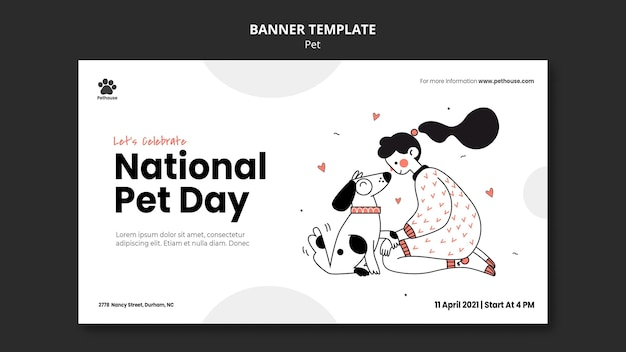 Horizontal banner for national pet day with female owner and pet