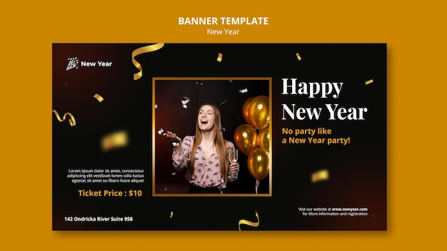 Horizontal banner for new year party with woman and confetti